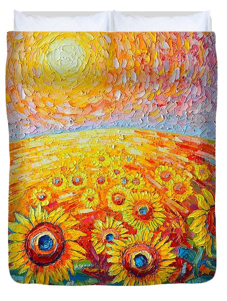 Fields Of Gold - Abstract Landscape With Sunflowers In Sunrise Duvet Cover