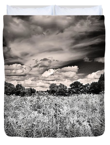 Duvet Cover featuring the photograph Fields Of Gold And Clouds by Mitchell R Grosky