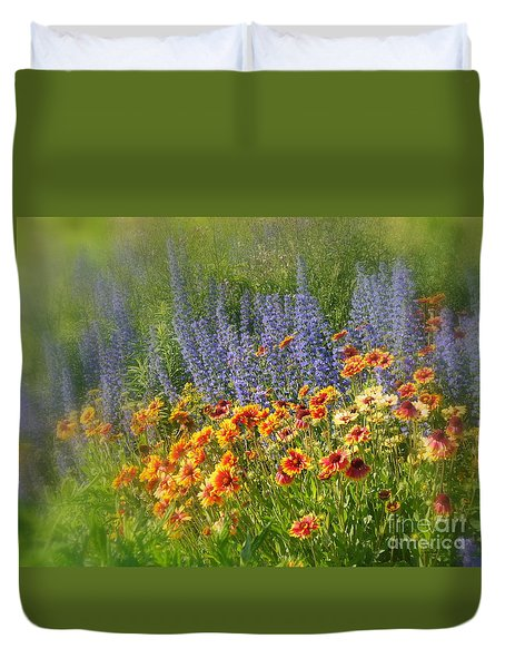 Fields Of Lavender And Orange Blanket Flowers Duvet Cover by Lingfai Leung