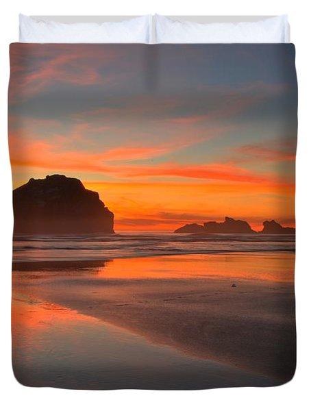 Fiery Bandon Beach Duvet Cover by Adam Jewell