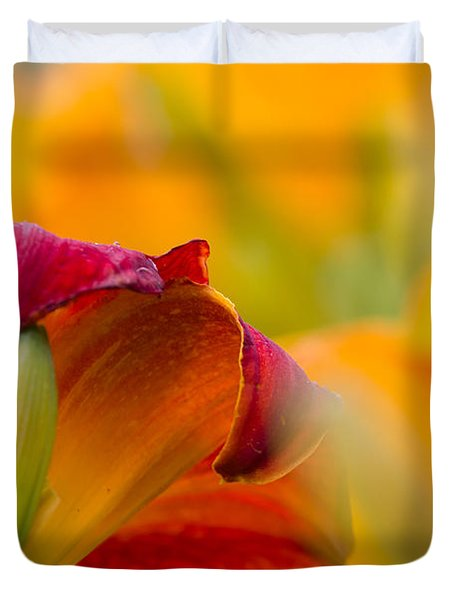 Fiery Flora Duvet Cover by Mary Amerman