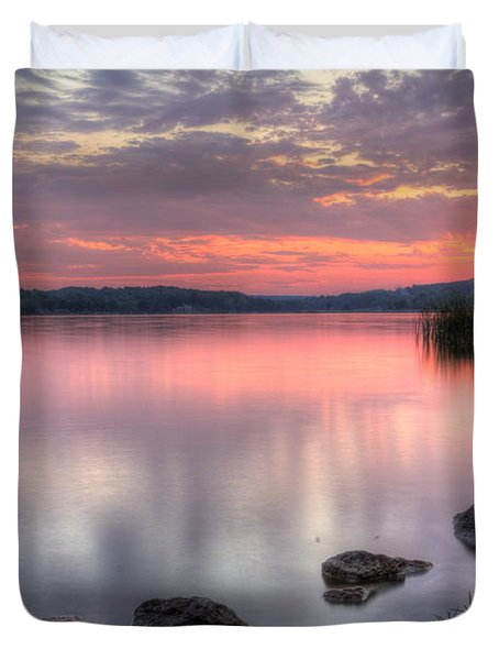 Fiery Lake Sunset Duvet Cover