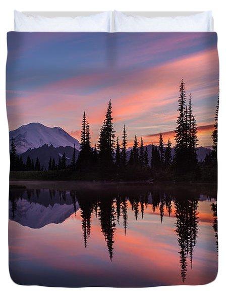 Fiery Rainier Sunset Duvet Cover