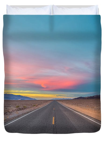 Fiery Road Though The Valley Of Death Duvet Cover