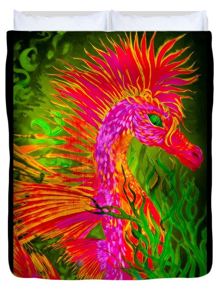 Duvet Cover featuring the painting Fiery Sea Horse by Adria Trail