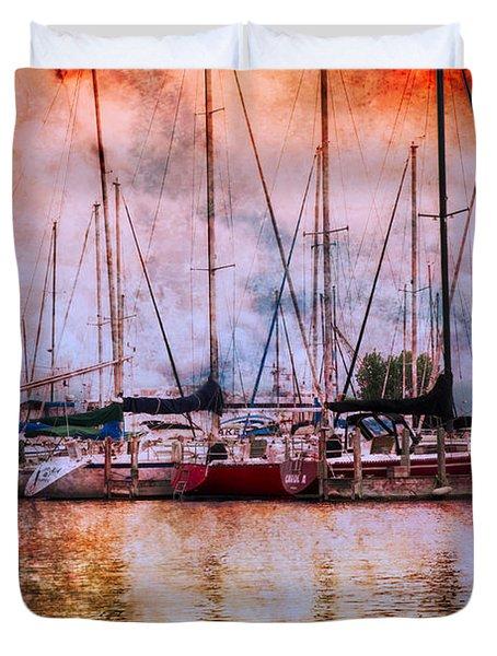Fiery Skies Duvet Cover by Debra and Dave Vanderlaan