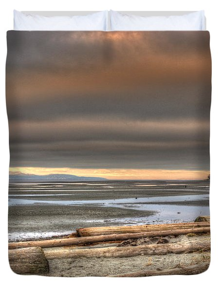 Fiery Sky Over The Salish Sea Duvet Cover