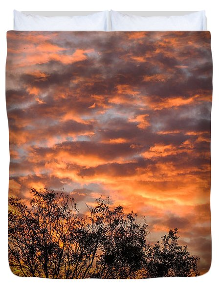 Fiery Sunrise Over County Clare Duvet Cover