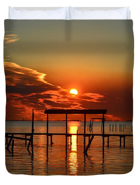 Duvet Cover featuring the photograph Fiery Sunset Colors Over Santa Rosa Sound by Jeff at JSJ Photography