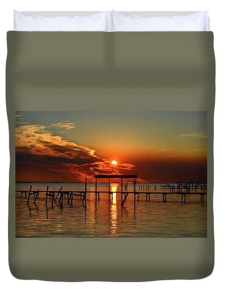 Fiery Sunset Colors Over Santa Rosa Sound Duvet Cover