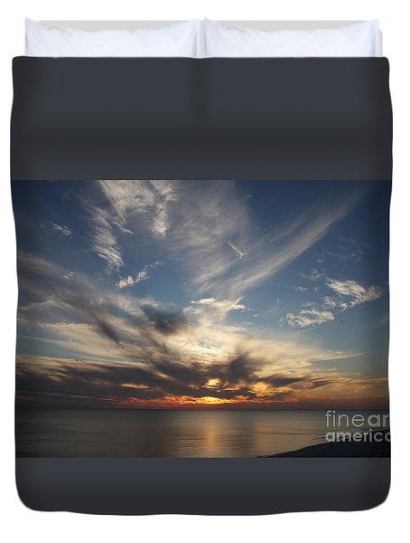Duvet Cover featuring the photograph Fiery Sunset Skys by Christiane Schulze Art And Photography