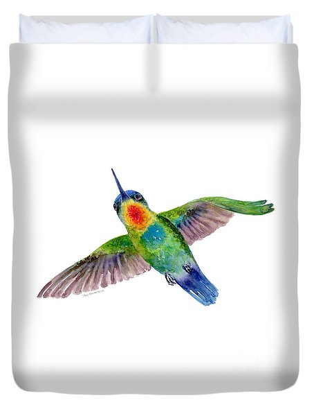 Fiery-throated Hummingbird Duvet Cover by Amy Kirkpatrick