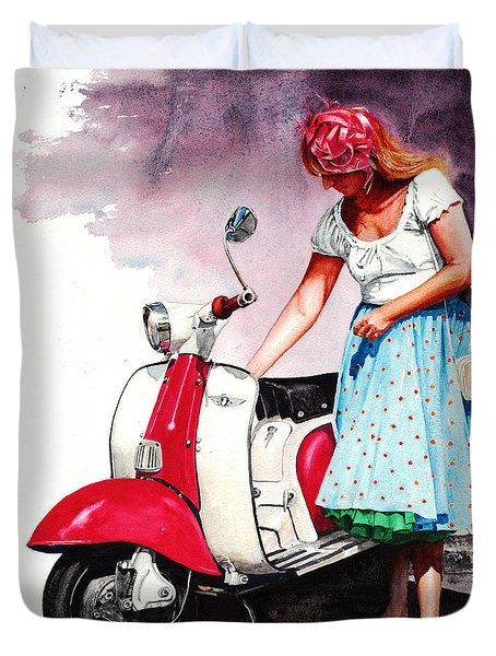 Fifties Lambretta Girl Duvet Cover