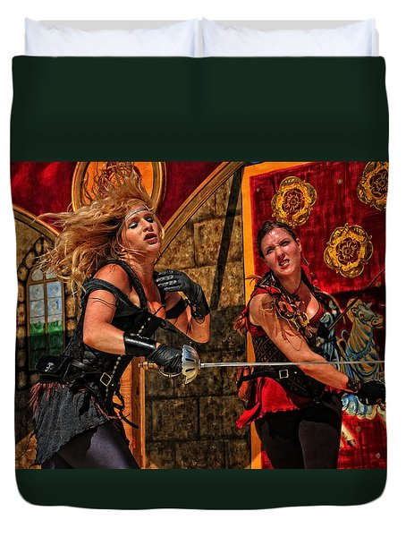 Fight To The Finish Duvet Cover by Mike Martin