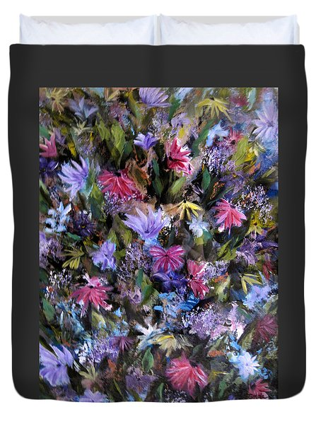 Fighting For Space Lll Flowerpatch Series Duvet Cover