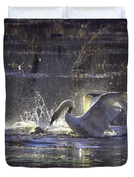 Fighting Swans Boxley Mill Pond Duvet Cover by Michael Dougherty