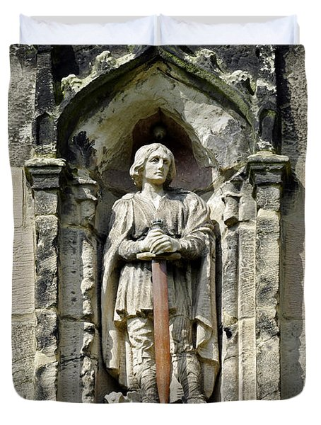Figure Of St Wystan Above Porch Door Duvet Cover by Rod Johnson