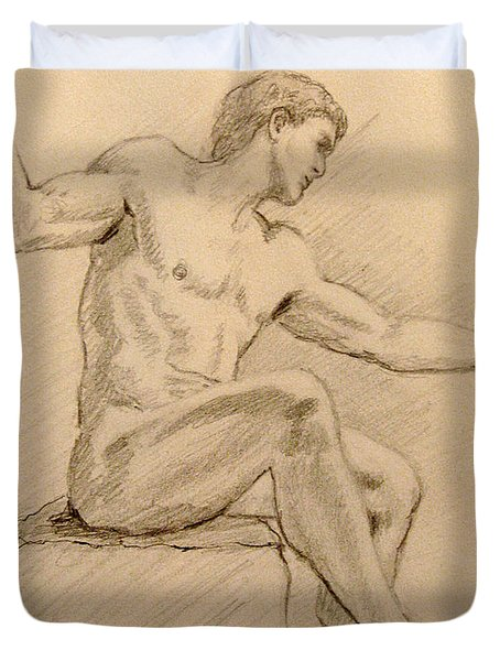 Figure On A Rock Duvet Cover by Sarah Parks
