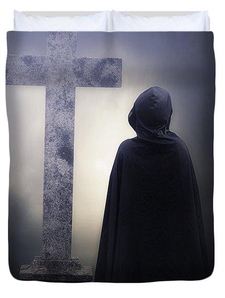 Figure On Graveyard Duvet Cover by Joana Kruse