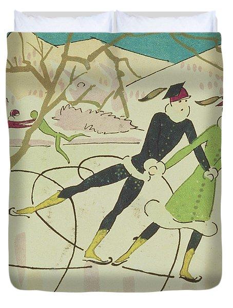 Figure Skating  Christmas Card Duvet Cover