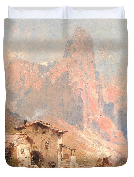 Figures In A Village In The Dolomites Duvet Cover by Franz Richard Unterberger