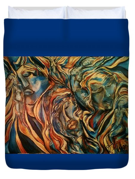 Duvet Cover featuring the painting Figures Of  Beauty by Dawn Fisher