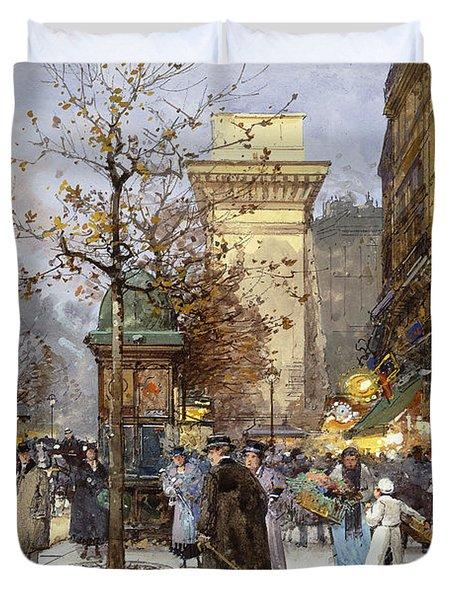 Figures On Le Boulevard St. Denis At Twilight Duvet Cover