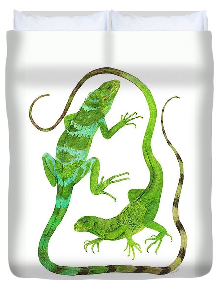 Fijian Iguanas Duvet Cover by Cindy Hitchcock