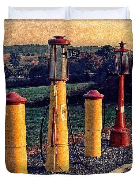 Fill 'er Up Vintage Fuel Gas Pumps Duvet Cover by Bellesouth Studio