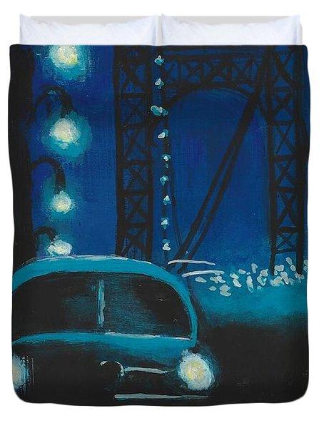 Film Noir In Blue #1 Duvet Cover