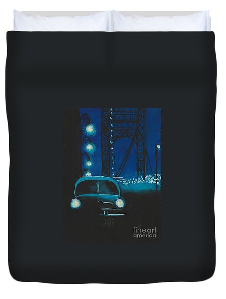 Film Noir In Blue #1 Duvet Cover