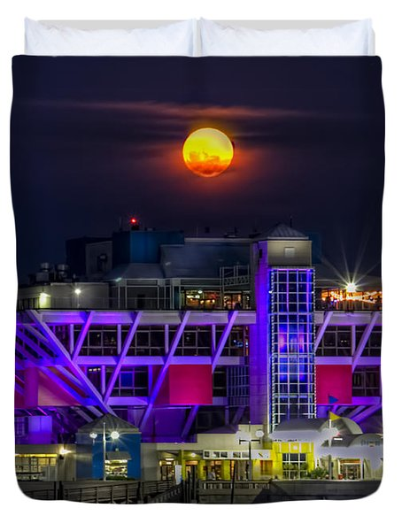 Final Moon Over The Pier Duvet Cover by Marvin Spates