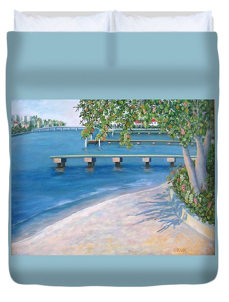 Duvet Cover featuring the painting Finding Flagler by Karen Zuk Rosenblatt