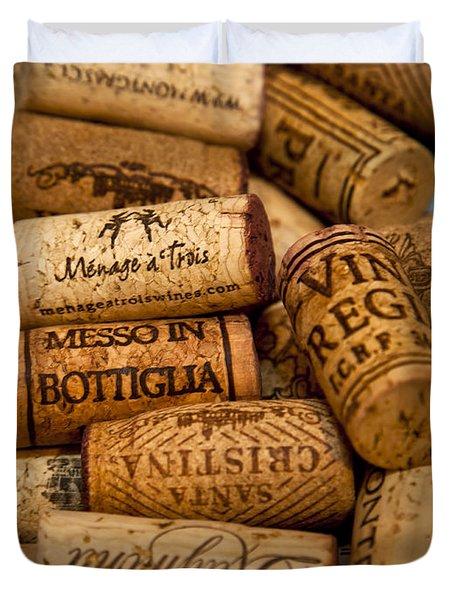 Fine Wine Corks Duvet Cover