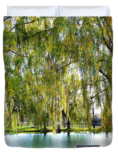 Finger Lakes Weeping Willows Duvet Cover by Mitchell R Grosky