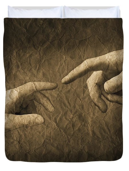 Fingers Almost Touching Duvet Cover by Don Hammond