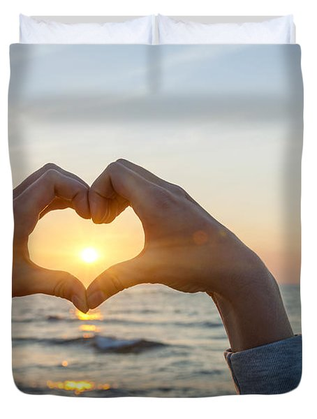 Fingers Heart Framing Ocean Sunset Duvet Cover