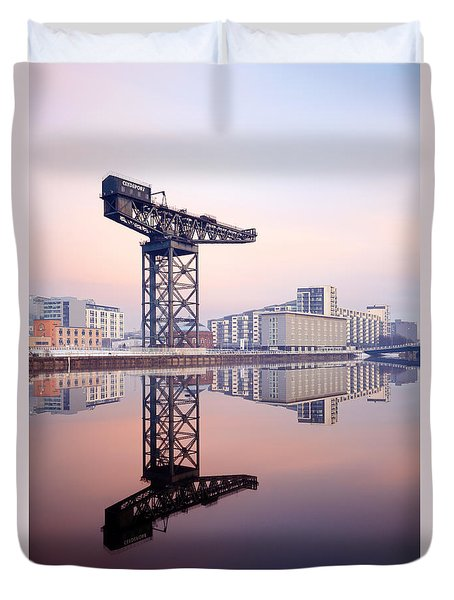 Duvet Cover featuring the photograph Finnieston Crane Reflection by Grant Glendinning