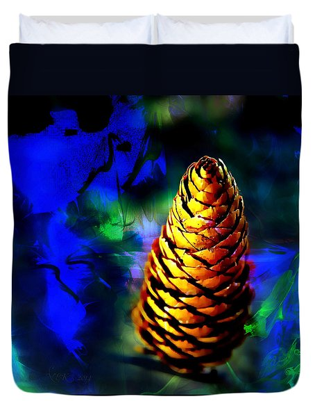 Duvet Cover featuring the photograph Fir Cone by Nick Kloepping