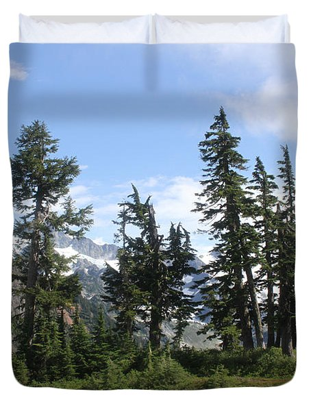 Duvet Cover featuring the photograph Fir Trees At Mount Baker by Tom Janca