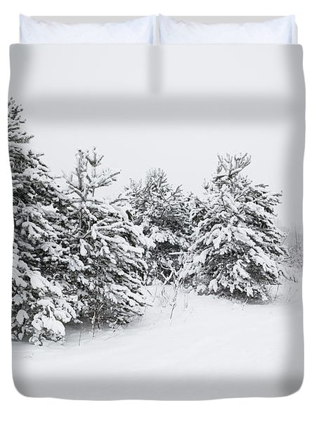 Fir Trees Covered By Snow Duvet Cover
