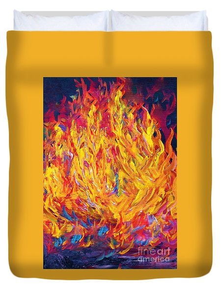 Duvet Cover featuring the painting Fire And Passion - Here's To New Beginnings by Eloise Schneider