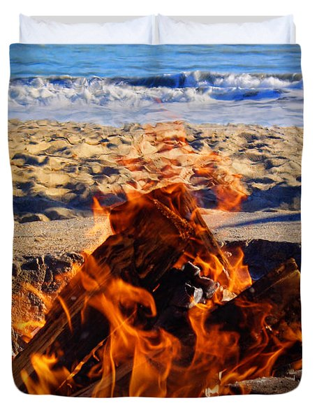 Duvet Cover featuring the photograph Fire At The Beach by Mariola Bitner