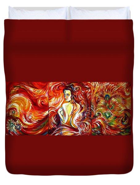 Duvet Cover featuring the painting Fire Bird. Zhar-ptitsa. Triptych by Anna  Duyunova
