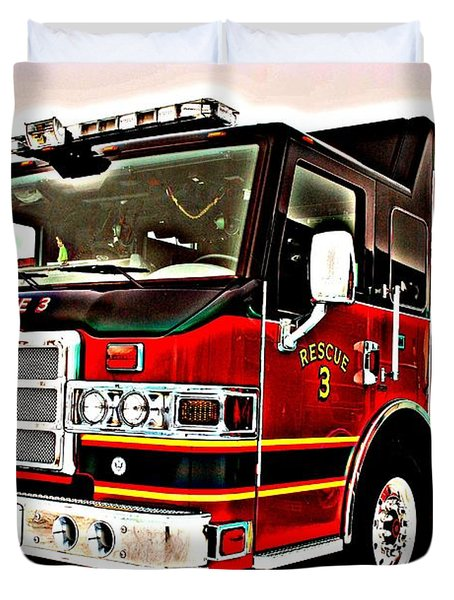 Fire Engine Red Duvet Cover by Frozen in Time Fine Art Photography