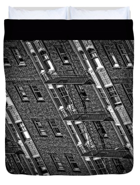 Fire Escape - Monochrome Duvet Cover by Mark Alder