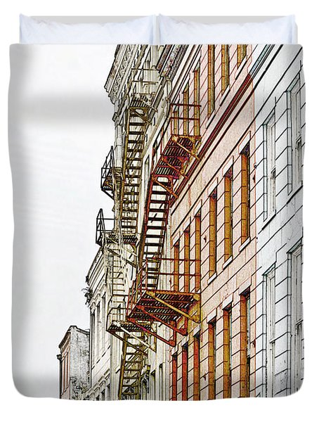 Fire Escapes New Orleans Duvet Cover by Christine Till