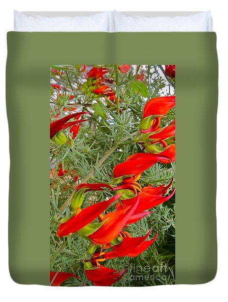 Fire Flowers Duvet Cover
