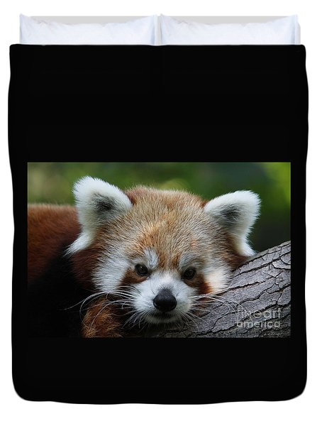 Duvet Cover featuring the photograph Fire Fox by Judy Whitton
