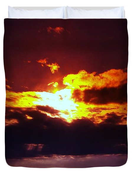 Fire In The Clouds Duvet Cover by Jeff Swan